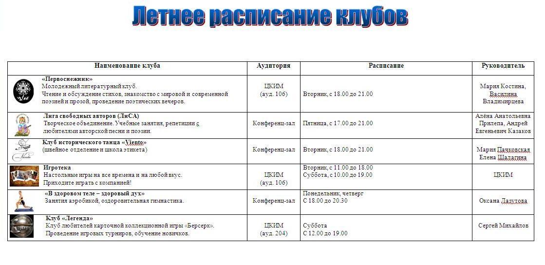 Летнее расписание
